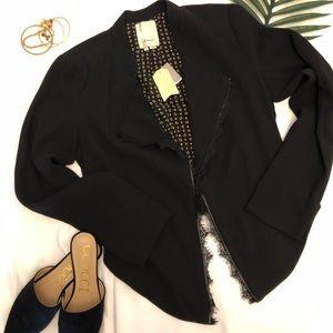 Anthropologie - Elevenses Black lace blazer